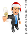 3D Businessman toasting with a glass of champagne 18574620