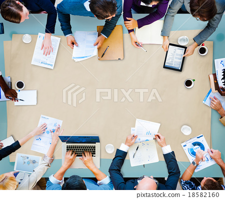 Stock Photo: Diversity Business Team Planning Board Meeting Strategy Concept