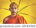 Buddhist monk holding umbrella Ceremony Concept 18582666