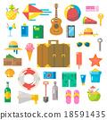 Flat design of summer beach items set 18591435