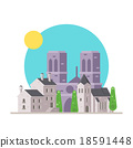 Flat design of Notre Dame France with village 18591448