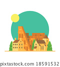Flat design of Colloseum Italy with village 18591532