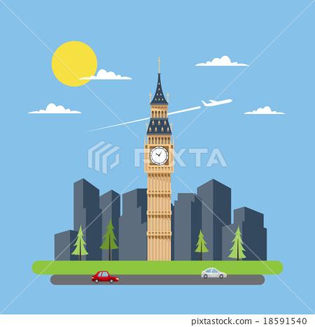 Flat design of Big Ben 18591540