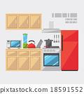 Flat design of kitchen interior 18591552