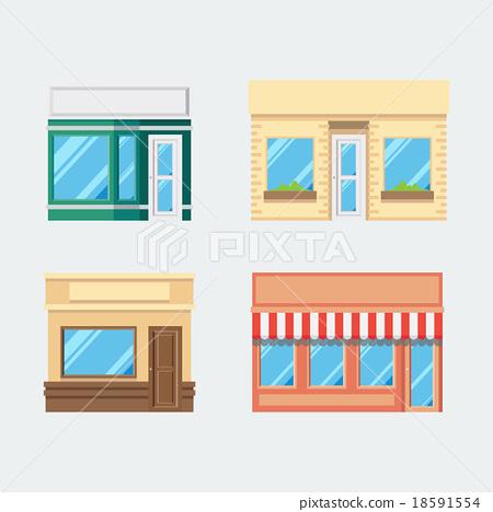 Flat design of front shop set 18591554
