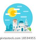 Santorini flat design landmark 18594955