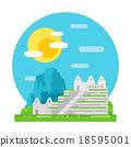 Machu Pichu flat design landmark 18595001