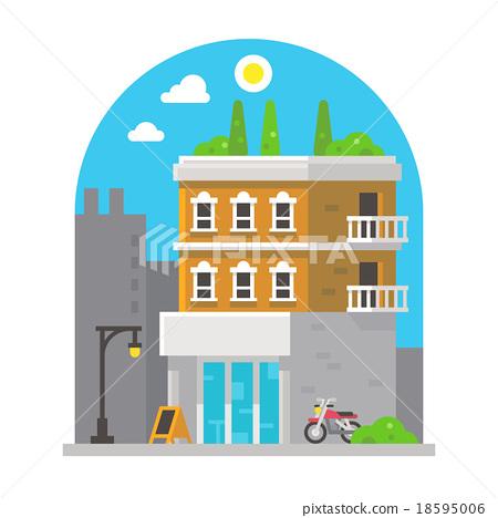 Shop front facade flat design 18595006