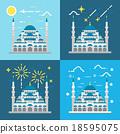 Flat design of Blue mosque Istanbul Turkey 18595075