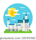Neuschwanstein castle flat design landmark 18595082