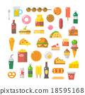Flat design of junk food set 18595168