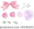 꽃, 리본, 진주 일러스트 18596003