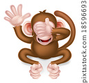monkey, cartoon, listening 18596693