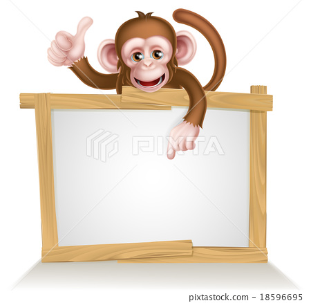 Cartoon Monkey Sign 18596695