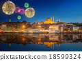 Beautiful fireworks and cityscape of Istanbul 18599324
