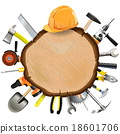 Vector Construction Wooden Board with Tools 18601706