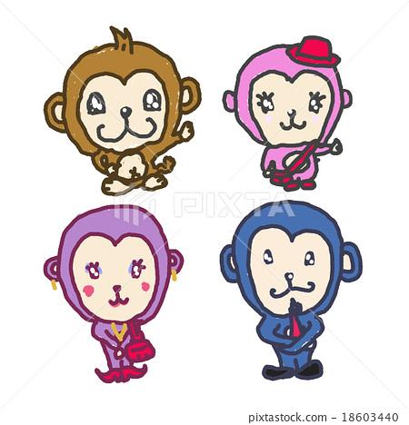 원숭이 가족 : 아이의 낙서 바람 느슨한 일러스트 2016 년 신 년 이미지 소재 18603440