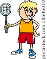 boy with tennis racket cartoon 18606019