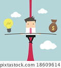 Business man balancing on the rope with ideas 18609614