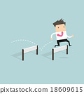 Businessman Jumping Over Hurdle vector 18609615