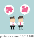 Businessman shaking hand with jigsaw conception 18610108