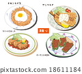 western food, chicken and rice, fried horse mackerel 18611184