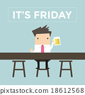 It's Friday, Businessman drinking beer at the bar 18612568