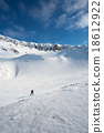 Ski tourist with landscape of Longyearbyen 18612922