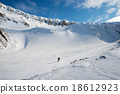 Ski tourist with landscape of Longyearbyen 18612923