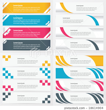vector banner design yellow, blue, pink color 18614904
