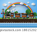 train on a background of rainbow. 18615202