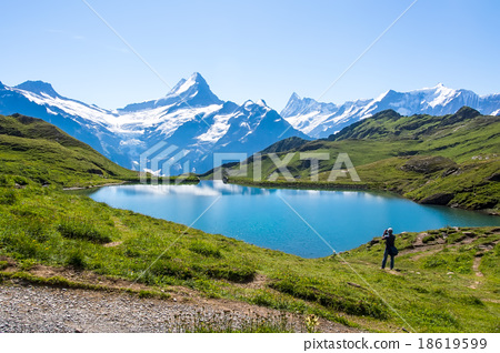 Stock Photo: Reflection of the famous Matterhorn in lake, Zer