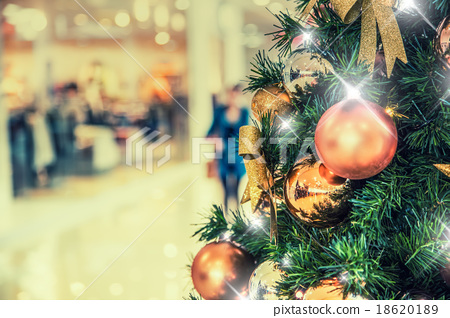 Stock Photo: Christmas tree with gold decoration in shopping
