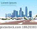 Winter Road to Modern City View Snow Skyscraper 18620383