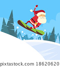 Santa Clause Snowboarder Sliding Down Hill 18620620