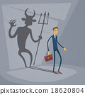 Businessman With Demon Shadow Wall Behind Business 18620804