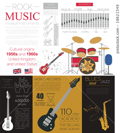 Musical instruments graphic template. Infographic  18621349