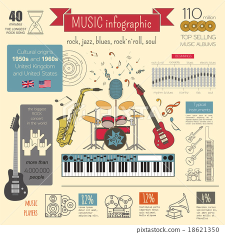 Musical instruments graphic template. Infographic  18621350