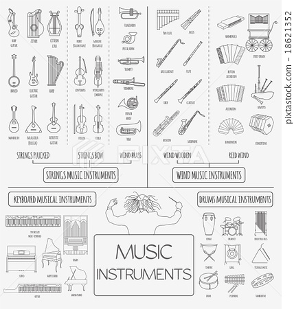 Musical instruments graphic template. Infographic  18621352