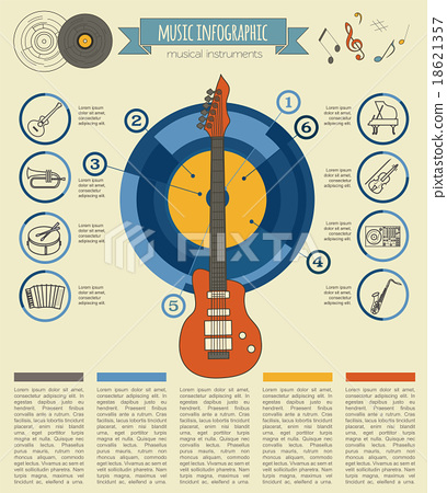 Musical instruments graphic template. Infographic  18621357