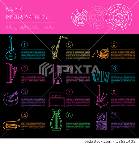 Musical instruments graphic template. Infographic 18621405