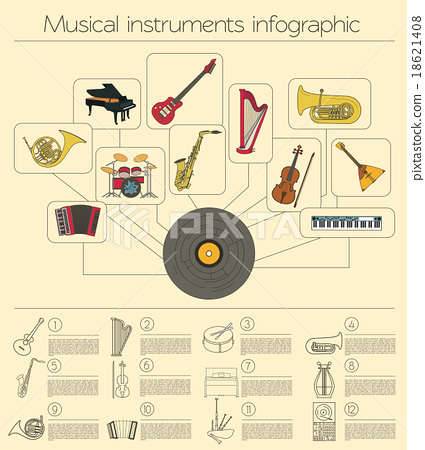 Musical instruments graphic template. Infographic 18621408