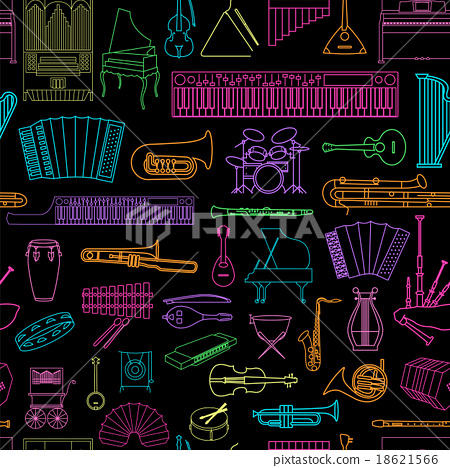 Musical instruments seamless pattern 18621566