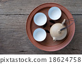 Chinese tea set on wooden,Closeup. 18624758
