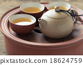 Chinese tea set on wooden,Closeup. 18624759