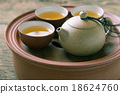 Chinese tea set on wooden,Closeup. 18624760