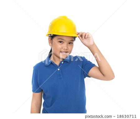 Children with safety helmet 18630711