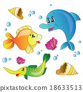 Vector set of images the marine life 18633513