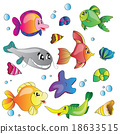 Vector set of images the marine life 18633515