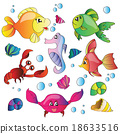 Vector set of images the marine life 18633516